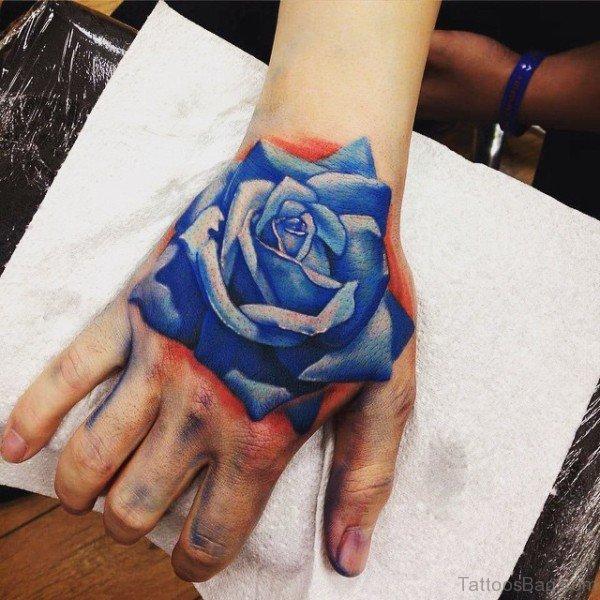 30 Fantastic Blue Rose Tattoos On Hand