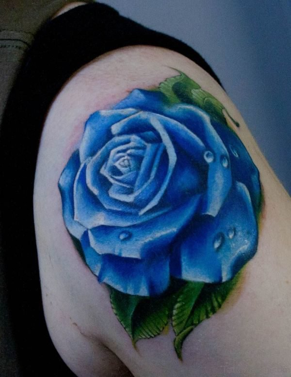 Cute Blue Rose Tattoo On Shoulder