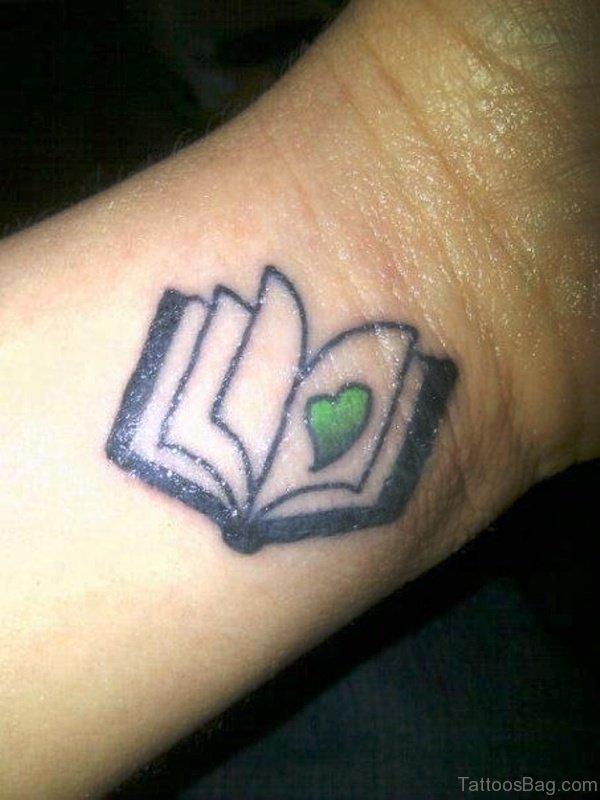 Cute Book Tattoo On Wrist