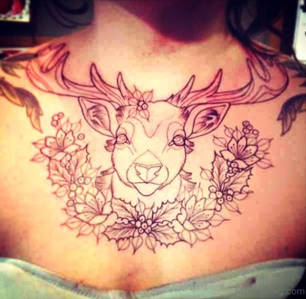 Cute Buck Tattoo With Flowers