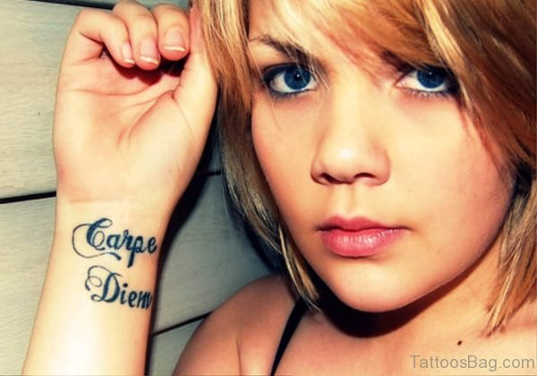 Cute Carpe Diem Tattoo On Wrist