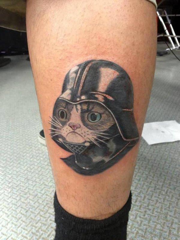 Cute Cat Tattoo on Leg