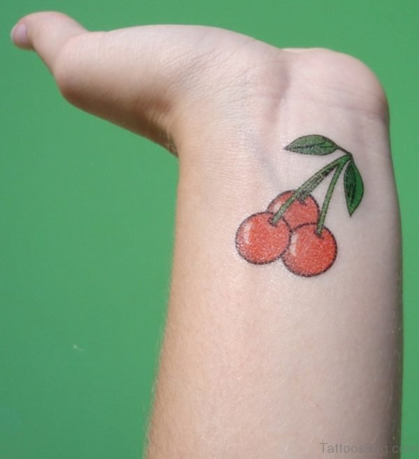 Cute Cherries Tattoo On Wrist