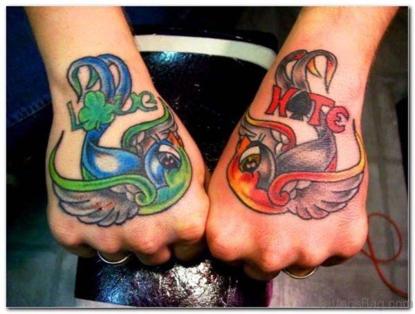 Cute Colored Birds Tattoo