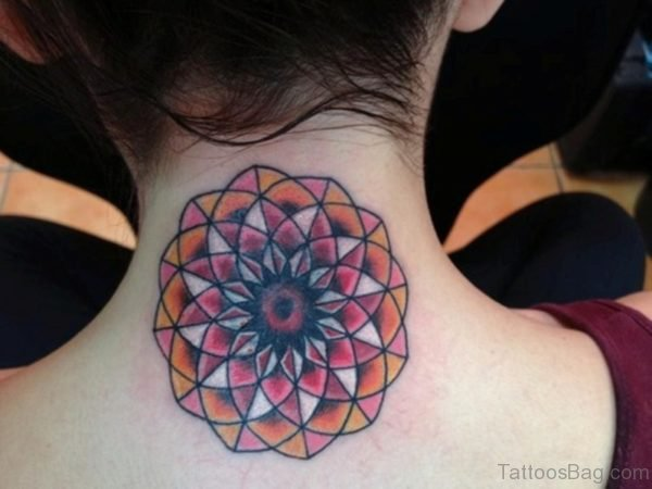 Cute Colored Mandala Neck Tattoo