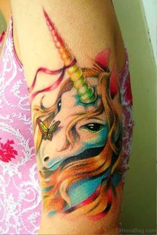 Cute Colorful Unicorn Tattoo On Arm