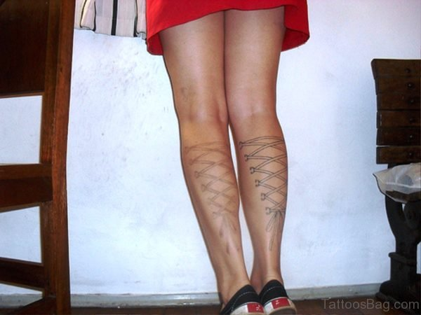 Cute Corset Tattoos On Both Legs