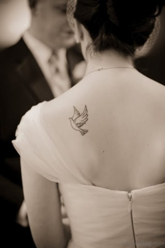Cute Dove Tattoo On Back