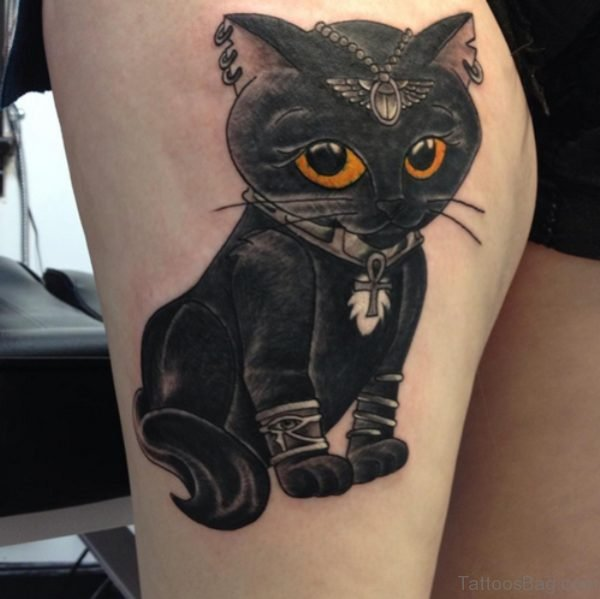 Cute Egyptian Cat Tattoo On Thigh