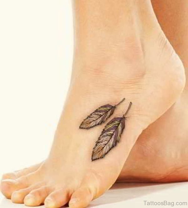 Cute Feather Tattoo On Foot