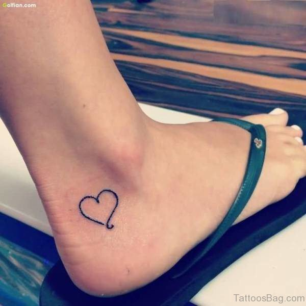 Cute Heart Tattoo On Ankle