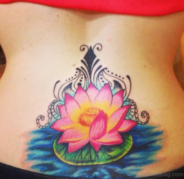 Cute Lotus Tattoo on Lower Back