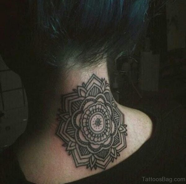 Cute Mandala Tattoo On Neck Back