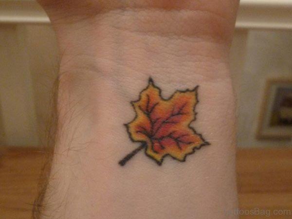 Cute Maple Leaf Tattoo On Wrist
