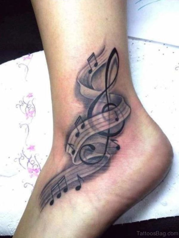 Cute Music Note Tattoo On Ankle Image