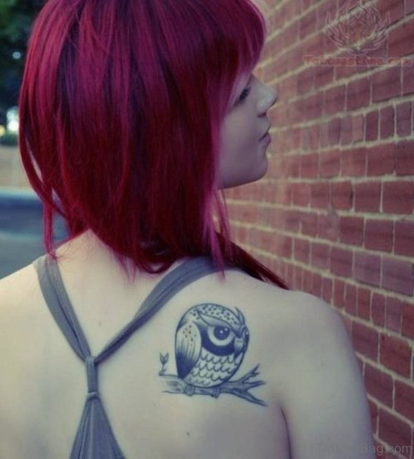 Cute Owl Shoulder Tattoo