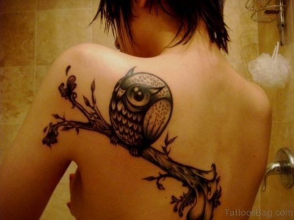 Cute Owl Tattoo On Left Shoulder