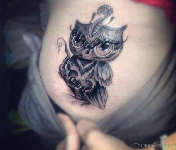 Cute Owl Tattoo On Shoulder