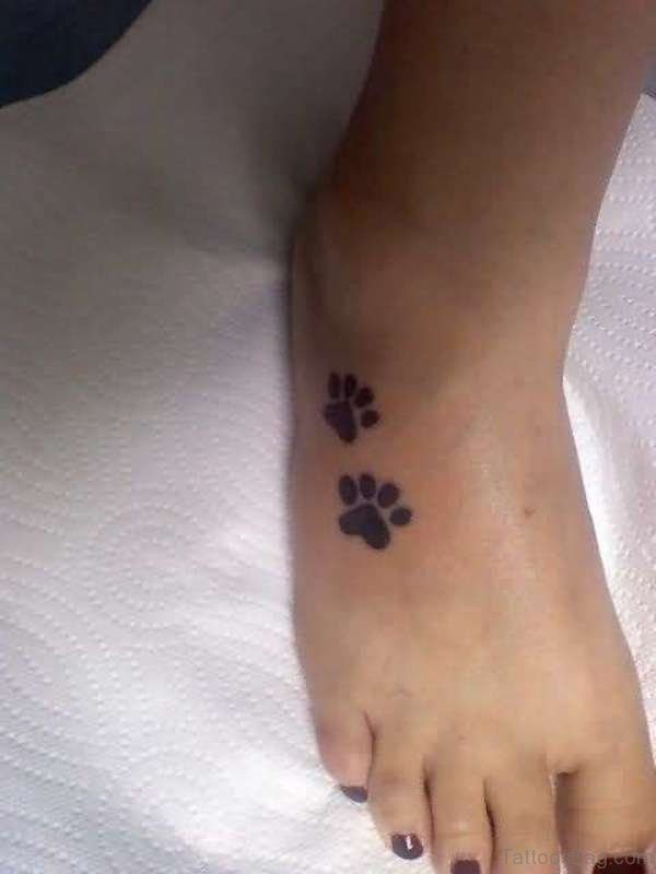 Cute Paw Tattoo On Foot
