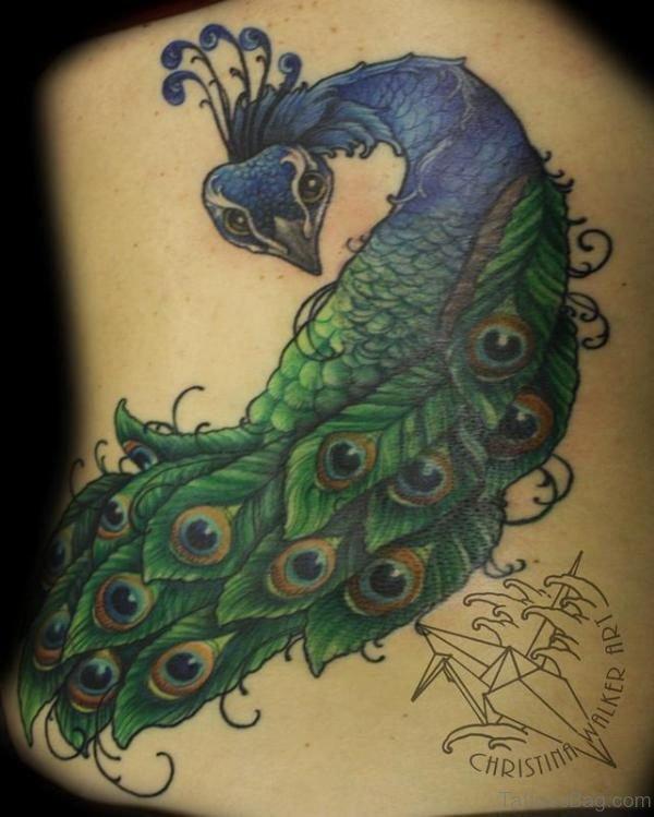 Cute Peacock Back Tattoo