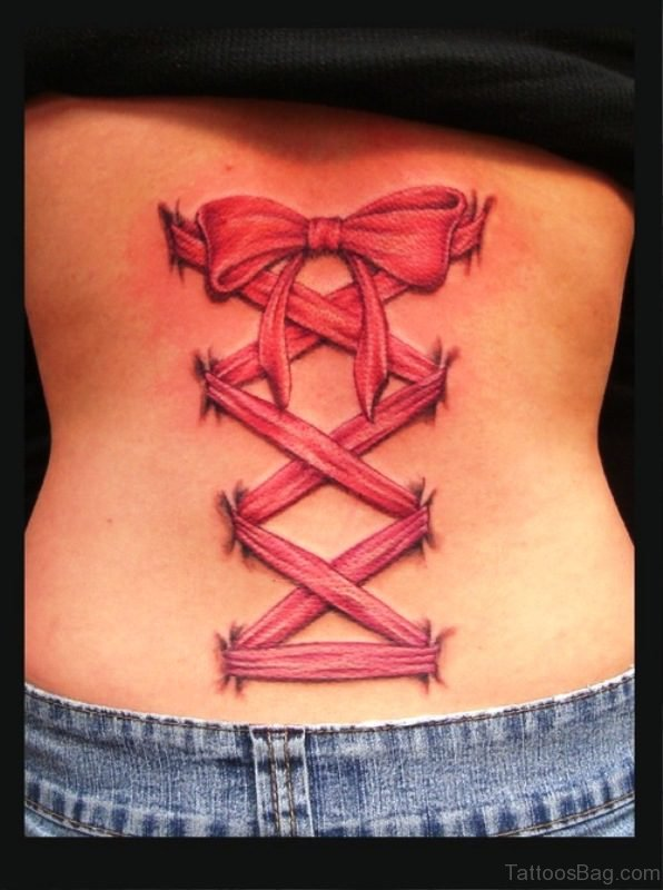 Cute Pink Corset Tattoo On Lower Back