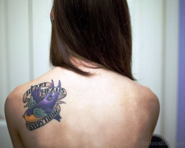 Cute Purple Swallow Tattoo On Shoulder