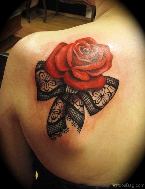 Cute Rose Tattoo On Back Shoulder