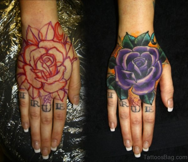 Cute Rose Tattoo On Hand