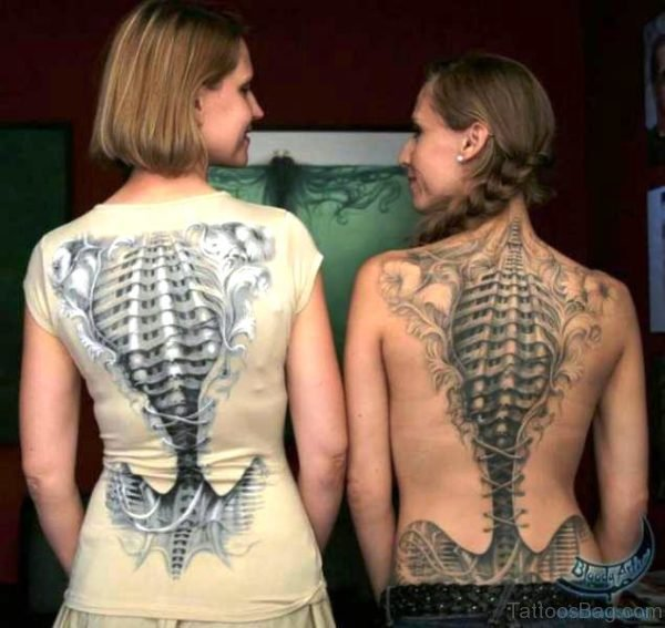 Cute Skeletons Tattoos On Backs