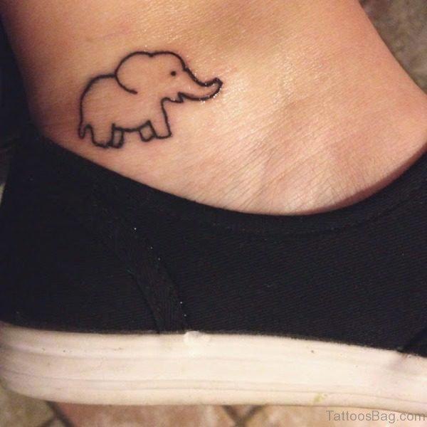 Cute Small Elephant Tattoo On Ankle