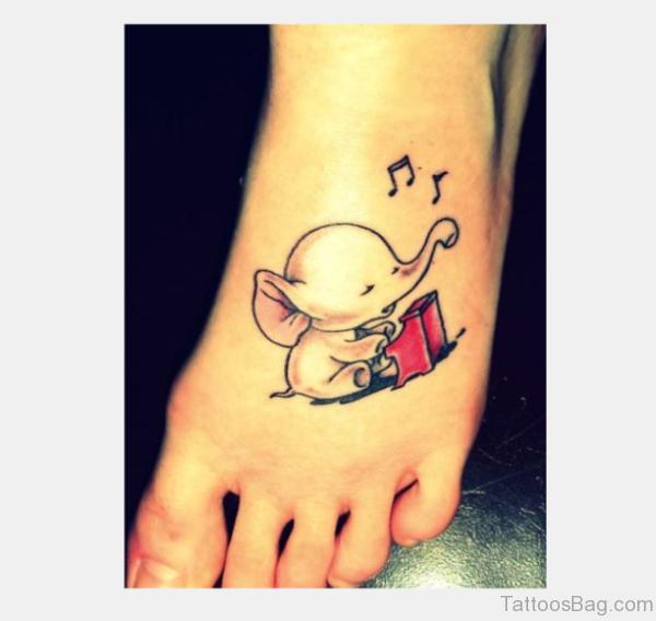 Cute Small Elephant Tattoo On Foot