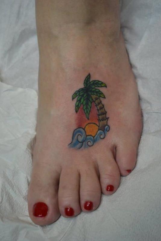 Cute Tree Tattoo On Foot