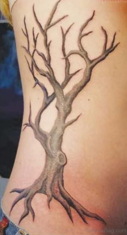 Cute Tree Tattoo On Rib