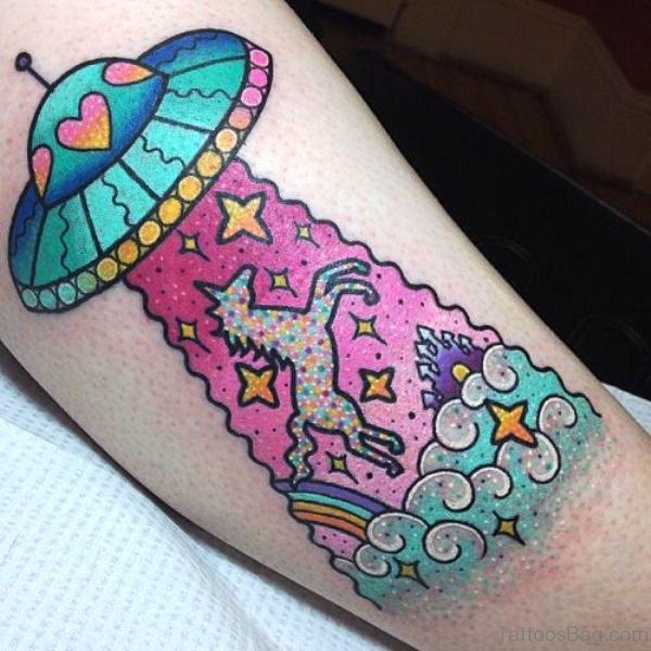Cute Unicorn Tattoo On Arm