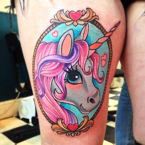 Cute Unicorn Tattoo On Thigh