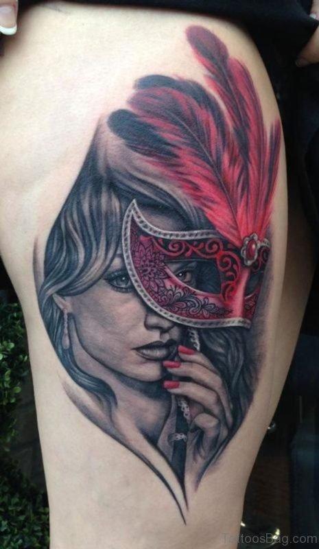 Cute Venetian Mask Tattoo