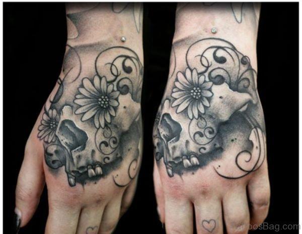 Daisy Flower Skull Tattoo