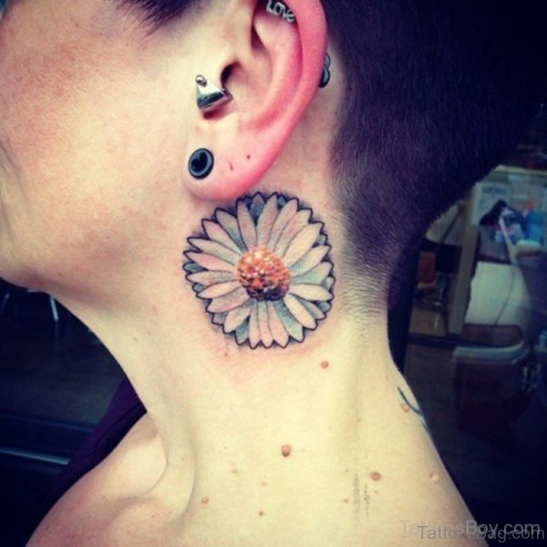 Daisy Flower Tattoo On Neck