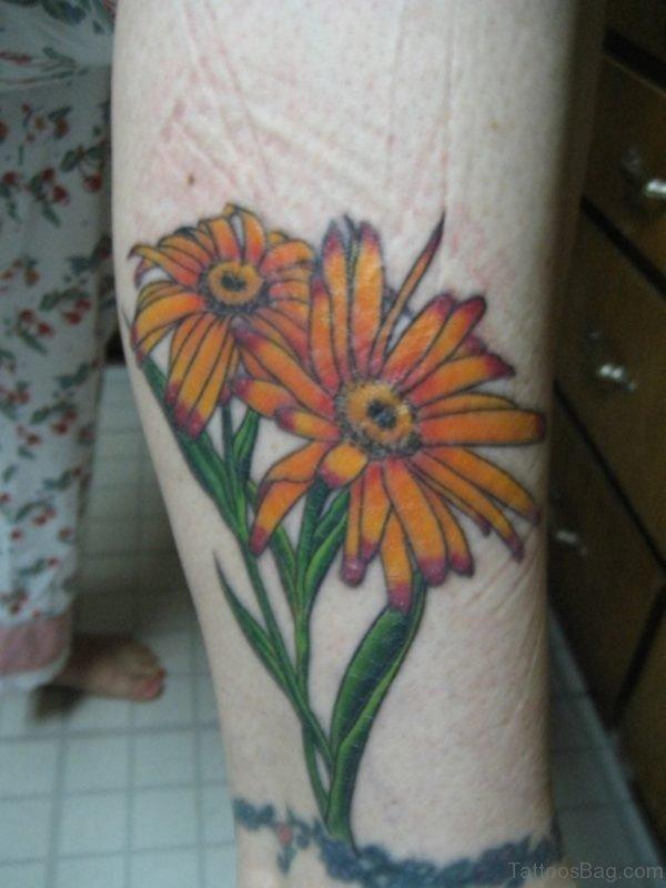 Daisy Tattoo On Leg
