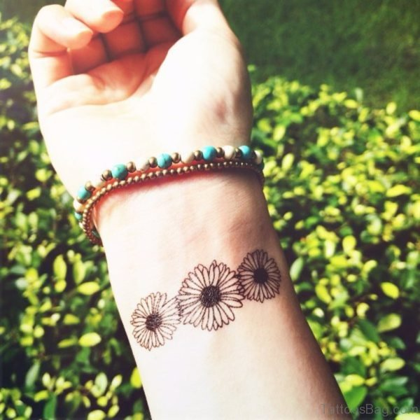Daisy Tattoo On Wrist