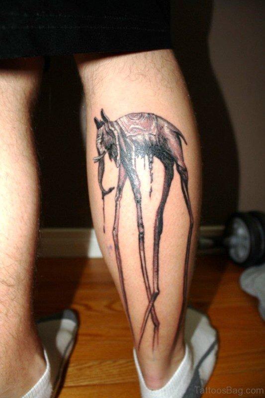 Dali Elephant Tattoo On Calf