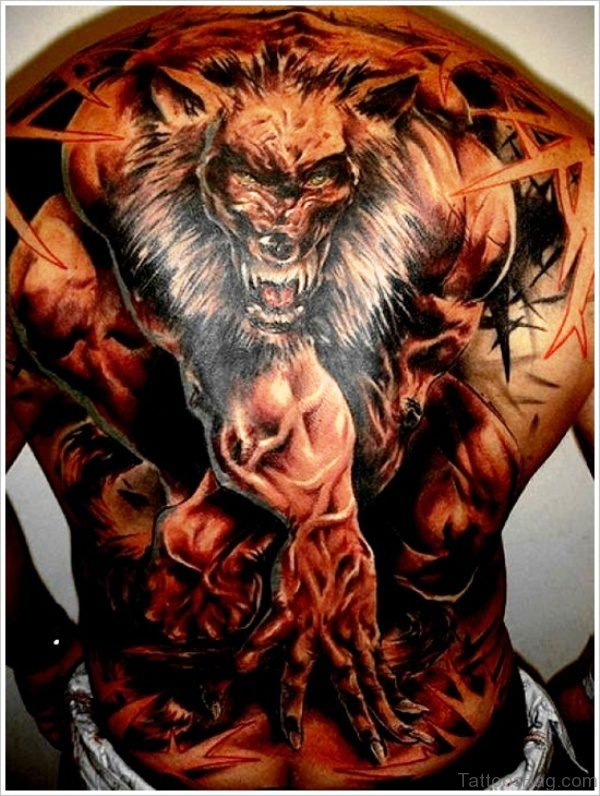 Dangerous Alpha Wolf Tattoo On Back