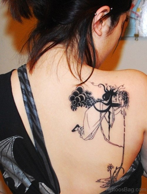 Dark Angel Tattoo On Upper Back