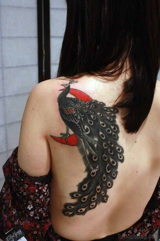 Dark Colored Peacock Tattoo