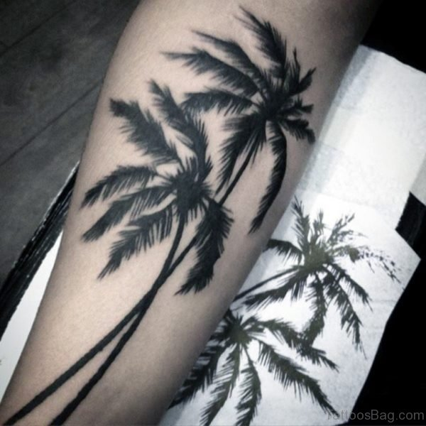 Dark Tall Palm Tree Tattoo For Men On Leg