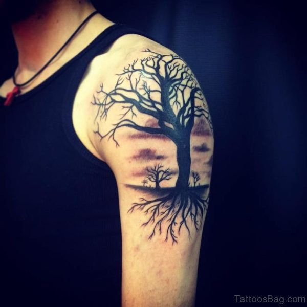 Dark Tree Tattoo Design On Left Shoulder