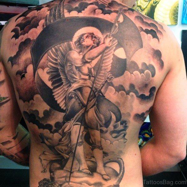 Dazzling Archangel Tattoo On Back