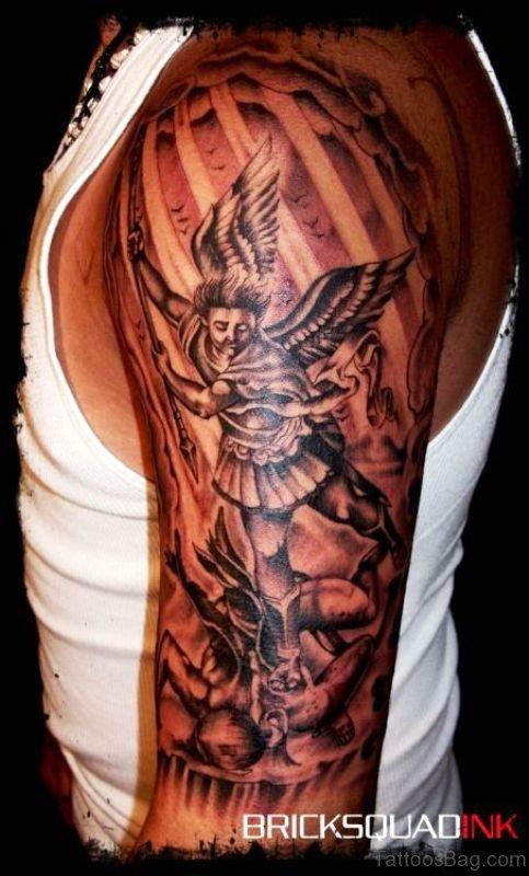 Dazzling Archangel Tattoo On Shoulder