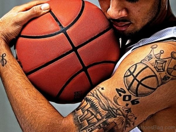 Dazzling Crowned Basketball Tattoo