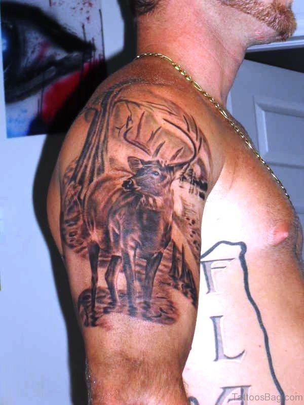 Dazzling Deer Tattoo On Shoulder